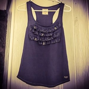 Hollister Gray Tank Top with Ruffles